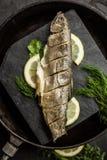 Bakad fisk för regnbågeforell med dill och citronen Restaurang Skaldjur Royaltyfria Bilder