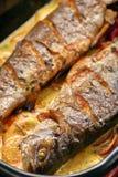 Bakad fisk med citronsås och grönsaker i en panna Royaltyfri Fotografi