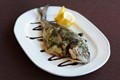 Bakad fisk med sås och citronen Royaltyfri Bild