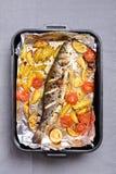 Bakad grönsaker och fisk Fotografering för Bildbyråer