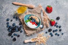 Bakad granola med honung, yoghurt och bär royaltyfri fotografi