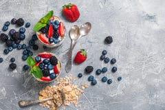 Bakad granola med yoghurt och bär arkivbilder