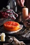 Bakad grapefrukt med smör och farin Fotografering för Bildbyråer