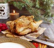 Bakad höna för jul fotografering för bildbyråer