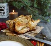 Bakad höna för jul arkivbild