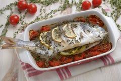 Bakad havsbraxen med grönsaker Arkivfoto