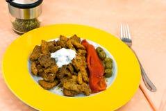 bakad klocka grillad sa för olive peppar för meat röd Arkivbild