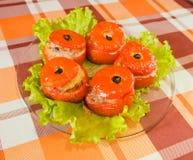 bakad lagad mat välfylld tomat royaltyfria foton