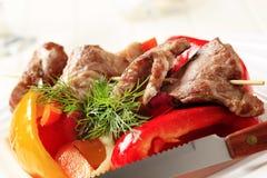 bakad meat grillad steknålgrönsak Arkivfoto