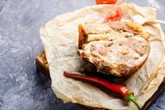 Bakad meat med kryddor Arkivbilder