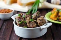Bakad meat med kryddor Royaltyfri Bild