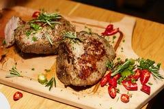 Bakad meat med kryddor Royaltyfria Bilder