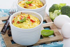 Bakad omelett med grönsaker Arkivbild