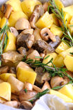 Bakad potatis med champinjoner arkivbilder