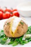 Bakad potatis med kräm- sås Arkivfoto