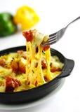 Bakad utan ben höna med ost och chili i svart ragu Royaltyfri Bild