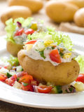 Bakad välfylld potatis royaltyfri bild