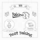 Bakade bakelsekakor och traditionell brean mat royaltyfri illustrationer