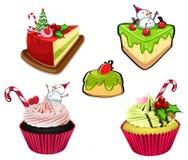 Bakade efterrätter för jul stock illustrationer