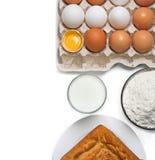 bakade glass godor för äggmjöl mjölkar Arkivbild