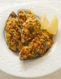 bakade gröna musslor Royaltyfri Foto