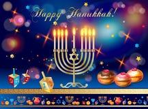 Bakade guld- menoror för lycklig Chanukkah, Donuts med blåbär- och konfettichokladglasyr, trädreidel vektor illustrationer