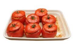 bakade läckra välfyllda tomater royaltyfria bilder