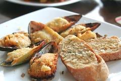 bakade musslor Royaltyfri Fotografi