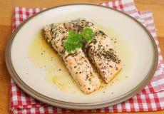 Bakade Salmon Fillets Fotografering för Bildbyråer