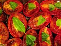 bakade tomater Arkivfoton