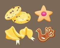 Bakar den hemlagade frukosten för den olika kakan isolerade kakor och bagerit för efterrätt för smaklig bakelse för mellanmål lju stock illustrationer