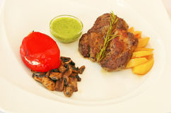 Bakat griskött med grönsaker och sås Arkivfoto