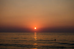 bakbelyst dimmig soluppgång för liggandesommarsolljus Royaltyfria Foton