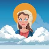 Bakcground spirituel de ciel de nuage de Vierge Marie illustration de vecteur