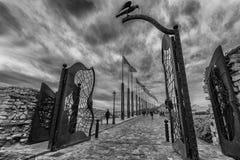 Bakdörr av Buda Castle med dess karakteristiska svarta skata, Budapest, Ungern, arkivbilder