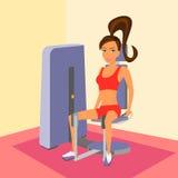bakdelar som övar kvinnan för idrottshallbenmaskin stock illustrationer