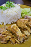 Bake chicken rice of thailand Royalty Free Stock Photography