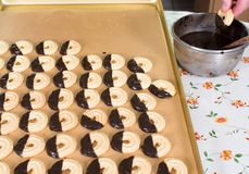 Bake Christmas cookies for Christmas season in the bakery stock images