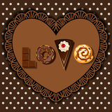 Bake goods and dessert in word of love shape Royalty Free Stock Images