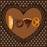 Bake goods in word of love shape Royalty Free Stock Images