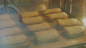 Bake in the oven pastry. Sandwich stock video footage