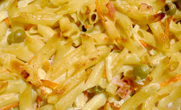 Bake pasta with vegetable, cheese and ham macro Royalty Free Stock Photography