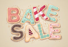 Bake sale cookie letter illustration. Hand drawn type that says Bake Sale in the shape of delicious and colorful cookies Stock Images
