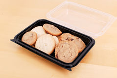 Bake Sale Cookies. In Plastic Container Royalty Free Stock Photography