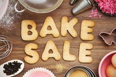 Bake sale cookies. Cookies forming the words bake sale royalty free stock photography