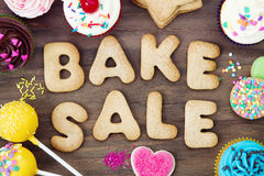 Bake sale cookies. Cookies spelling the words bake sale stock photos
