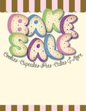 Bake Sale Flyer Poster Art Announcement Fundraiser. Colorful with cookies, cupcakes, pies, cakes and more lettering vector illustration