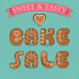 Bake sale. Inscription by gingerbread font. stock images