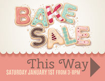 Bake Sale sign template. Hand drawn type that says Bake Sale in the shape of delicious and colorful cookies on a flyer or poster sign template to show direction stock illustration