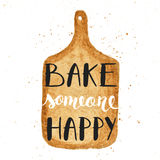 Bake someone happy on watercolor cutting board Royalty Free Stock Photography